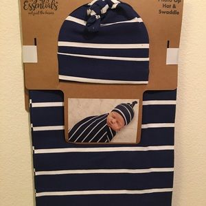 Baby boy hat and swaddle cloth